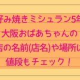 お好み焼きミシュラン5年!大阪おばあちゃんのお店の名前(店名)や場所は?値段もチェック!